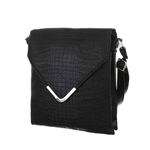 Damen Tasche, Kleine Umhängetasche, Kunstleder, TA-KJ8067 Schwarz