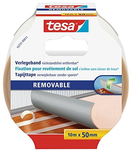 tesa Verlegeband rückstandsfrei entfernbar - Gewebeverstärktes, doppelseitiges Klebeband zum Verkleben von Teppich- und PVC-Bodenbelägen - 10 m x 50 mm