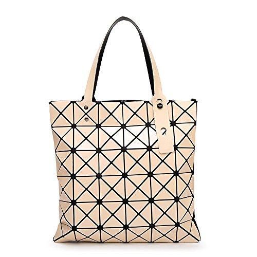 2018 Damen Sommer Schultertasche Shard Rhombus Design Hologramm Geometrisch Umhängetasche Klassisch Abendtasche,Off-white-OneSize (Leder-tote Off-white)