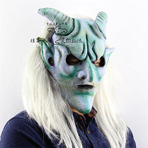 Langes Haar Silber Ecke Königs Kopf Außenhandel Halloween Weihnachten Spuk Haus Kostüme Stützen Latex Horror Ghost (Ohne Chucky Maske Kostüm)
