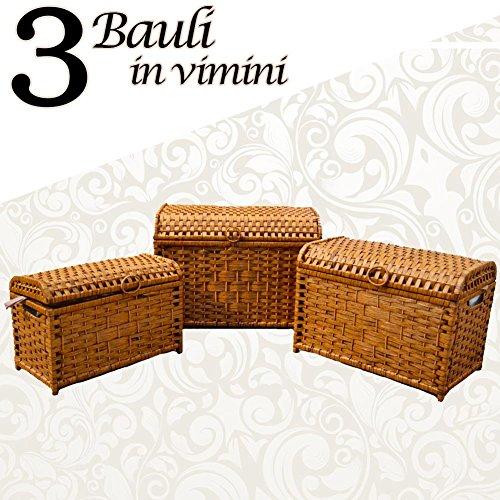 Bakaji Tris 3 Bauli In Vimini Intrecciato Colore Marrone Con Interno ...