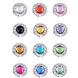6pcs Handtaschenhalter Aufhänger mit Gliederhalterung ausklappbar und funkelnden farbigen Kristall