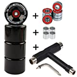 4 Stück FunTomia® Longboard/Skateboard/Mini-Board Rollen (Big Wheels) in 65x45mm 80A inkl. Mach1® Kugellager und Metall Spacer