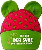 Baby Ohren Mütze Sternchen (Farbe pink-lime) (Gr. 1 (0-74) Ich bin der Suesse von dem alle reden