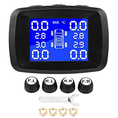 Sistema TPMS per Auto, Sistema di Monitoraggio della Pressione dei Pneumatici Monitor LCD con Accendisigari con 4 Sensori Esterni