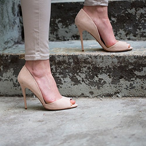 "Ideal Shoes Décolleté aperto in punta ""Jalila"", effetto camoscio Beige (Beige)"