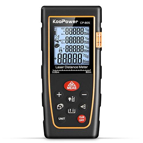 Koopower 80M Entfernungsmesser Distanzmesser Distanzmessgerät (Messbereich 1 ~ 80m / ± 1,5 mm mit LCD-Hintergrundbeleuchtung), für die Inneneinrichtung, Oberflächenmessung, Volumen, Objekte groß