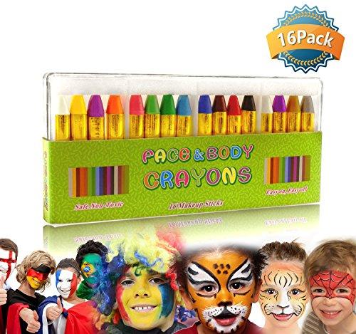 GiBot 16 Couleur visage peinture des crayons de visage et de corps sûrs et non-toxiques Crayons Maquillage pour Enfants, Easy on et off