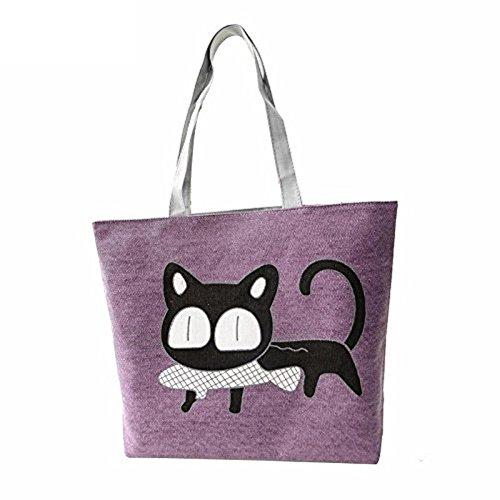 XL Shopper 37x9x30 CM Tasche Stoff 3D Fisch Bild Katze Cat Handtasche Damen Lila