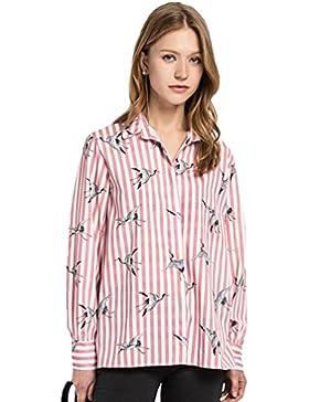 YAANCUN Mujer El Nuevo Verano Y Otoño Camisa De Manga Larga,Diseño Con Impresión A Rayas