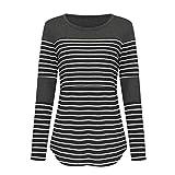 AIni Femmes Robe Jupe-T-Shirt d'allaitement à Manches Longues à Rayures De Maternité pour l'allaitement-Casual Clubbing Cocktail SoiréE-Robe Blanche Femme Ete