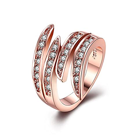 BODYA 18K Rose Gold Plated cubic zirconia crystal paved angel wing feather Cocktail Flame Ring