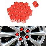 20 tappi in silicone per mozzo ruota auto, 17 mm, dadi cerchioni, bulloni, viti antiruggine, colore rosso