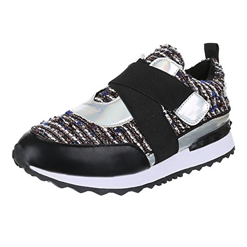 Ital-Design, Sneaker donna Nero (Nero/Blu)