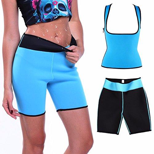 Damen Abnehmen Sauna-anzüge Korsett Shaper formende Capri Schwitz-hosen Fitnesshose Joggen Training Blau L (Nylon Slim Shaper)
