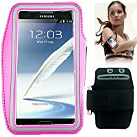 Brassard tour de bras Porte Smartphone, idéale pour activité sportive (course ou Gym), avec poche pour clés et passants pour casque pour Samsung Galaxy S3–S4/S4Mini–Note–Note2–iPhone 4/4S–5/5S.