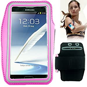 Brassard tour de bras rose pour Samsung Galaxy Note 2 / II N7100 et Galaxy Note 3 N9000 idéal pour les sportifs, course à pied ou salle de sport, pochette pour clé et trous pour écouteurs