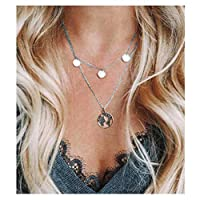 Fstrend Fashion Layered Necklace Silver Necklace Jewelry with Pendant for Women and Girls