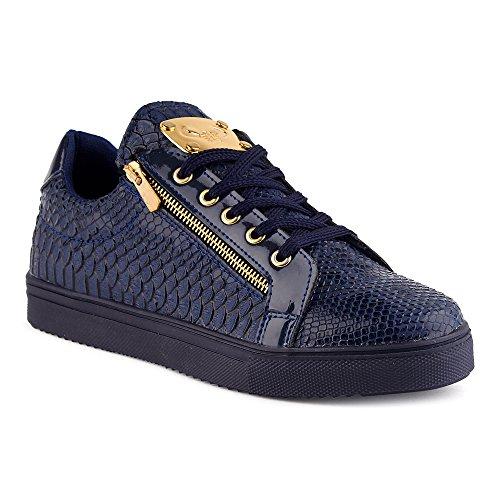 FiveSix Herren Sportschuhe Reißverschluss Schlangenoptik Lack Sneaker Blau EU 41 (Jordan Schuhe Reißverschluss)