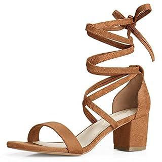 Allegra K Damen Sommer offene Zehen Schnuerschuh mittlere Sandalen Blockabsatz Braun 40 EU/Label Size 9 US