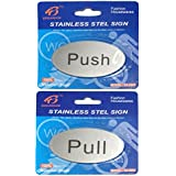 HOME CUBE® Self Adhesive Stainless Steel Push & Pull Metal Door Signage Board Combo (Oval Shape)