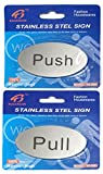 #6: HOME CUBE® Self Adhesive Stainless Steel Push & Pull Metal Door Signage Board Combo (Oval Shape)