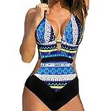 Donne push-up bikini stampato Boemia un pezzo costumi da bagno costume ,Yanhoo® Costume Mare da Donna Tkini Costume Costume Intero Push up Bikini Sexy Swimsuit Coordinati Beachwear (Blu, XL)