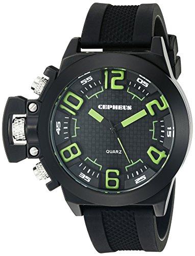CEPHEUS CP901-622D - Reloj analógico de cuarzo para hombre con correa de silicona, color negro