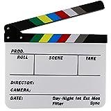 EDGEAM Acrilico Ciak Clapperboard Film Cinematografico TV Editor scena d'azione (bordo bianco con bastoni colorati)