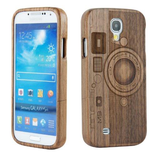 Sunsmart™ - cover, custodia rigida walnut m9 in legno naturale di bambù, fatta a mano, per samsung galaxy s4 i9500, protezione schermo inclusa