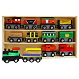 Wooden Magnetic Train (13 Piece) Set - 12 Magnetic Trains with 1 Wooden
