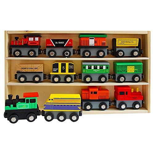 Trenes de Madera Imantados (13 Piezas ) Set - 12 Trenes con 1 Estuche de Madera - Colección de Trenes de Juguete de Madera para Niños y Niñas - Accesorio de Set de Trenes Educacionales