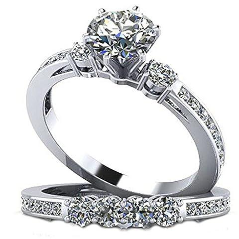 Epinki Damen 925 Silber Ringe, Drei Stein Set Form Hochglanz Solitärring Eheringe Silber mit Zirkonia Gr.50 (Prinzessin Set Manschettenknöpfe)