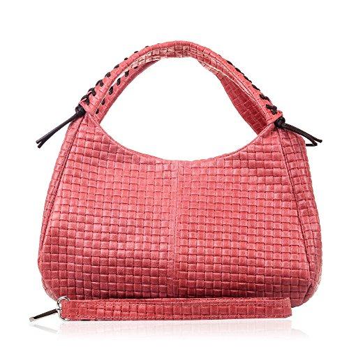 FIRENZE ARTEGIANI.Damenhandtasche aus echtem Leder.Echte Ledertasche mit geometrischem Geflecht.Umhängetasche für Frauen.Made in ITALY. VERA PELLE ITALIANA.24x19x3 cm