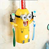 COOLER®Despicable Me Minions distributeur automatique de dentifrice + 2 Brosse à dents Holder Set jaune + un verre à dent aimable et pratique+Emballage en cadeau