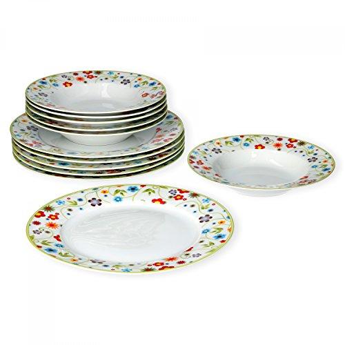 Van Well Tafelservice 12-tlg. für 6 Personen Serie Vario Porzellan - Farbe wählbar, Farbe:flowers
