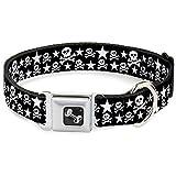 Buckle Down 38,1–66cm Skulls & Stars schwarz/weiß Hund Halsband Knochen, groß