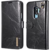 DG Ming S9 Plus Case Flip Cover Leather Wallet Magnetic Detachable Back Cover Works With Magnetic Car Stand For Samsung Galaxy S9 Plus Samsung Galaxy S9+ - Vintage Black