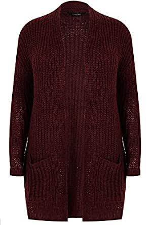 4a1a5adefb97 Yours Women s Plus Size Berry Longline Chunky Knit Cardigan with Pockets  Size 34-36 Red