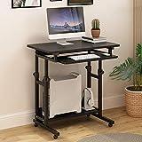 YNN Tavolo Stand Up Desk Mobile Ergonomico Computer Workstation con Caster Black Teak Colore Noce Colore Bianco Legno (Colore : Nero)
