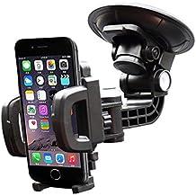 iVoler Soporte Movil Coche con Ventosa para Parabrisas/Salpicadero de Coche, Giro 360 Grados para Teléfonos Móviles iPhone X / 8 / 8 Plus / 7 / 7 Plus / 6(s) / 6(s) Plus / SE / 5s / 5, Samsung Galaxy S9 / S9+ / S8 / S8+ / S7 / S7 Edge / S6 / S5, Huawei, LG, Motorola, Xiaomi, BQ Aquaris, Sony y Android Móviles Dispositivo GPS.