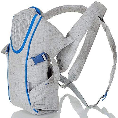 Babytrage für Neugeborene bis 15 kg incl. Kopfkissen Einlage für mehr Sicherheit; Silber