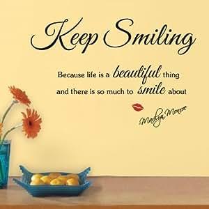 """Mercurymall ® """"Keep Smiling Life is Beautiful Noir hirondelles Sticker mural Tatouage mural autocollant mural pour le salon chambre de Mur-de-table de chevet-TV mural de décoration d'Art de toile de fond Papier peint vinyle Motif MARILYN MONROE Sticker mural"""