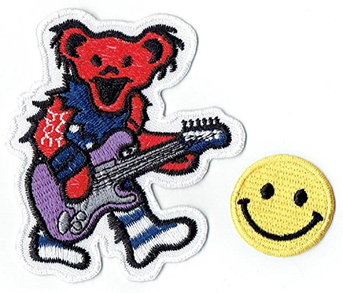 Greatful Dead Dancing Bear Applique Besticktes Eisen auf Patches von PATCH CUBE (Pink)