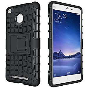 Xiaomi Redmi 3s Prime Hard Armor Hybrid Rubber Bumper Flip Stand Rugged Back Case Cover by DRaX®