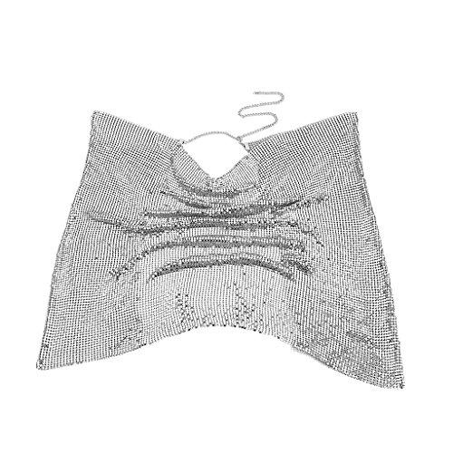 Homyl Damen Glitzer Pailletten Top Ketten Brustkette Bikini Kette Schmuck Strand Körper Schmuck - Silber (Lady Halben Körper)