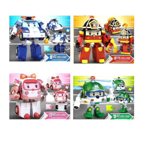 Deluxe Transformable Robocar Poli Toy SET  Poli+Amber+Roy+Helly , eba149c67b66