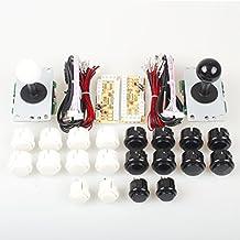 Arcade DIY Kits Controller USB Encoder para PC Juegos 8 Way Stick + 4x 24mm + 16x 30mm Botones para Arcade Cabinet Joystick Mame Raspberry Pi 1 2 3 KOF Partes Blanco / Negro