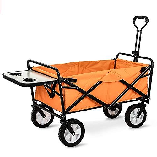 WYX Zusammenklappbarer Einkaufswagen Für Den Außenbereich, Camping-Picknickwagen Mit Beistelltisch, Strandkinderwagen, Zusammenklappbares Leichtgewicht Für Den Garten,b