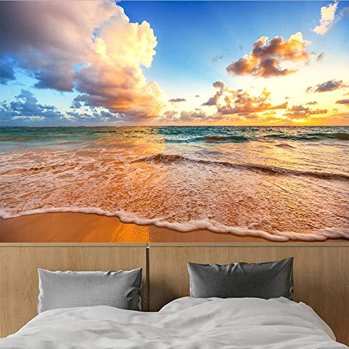VVNASD 3D Aufkleber Wandbilder Tapete Wand Dekorationen Schöner Himmel Strand Bewegt Landschaftswohnzimmer Schlafzimmer Hintergrund Dekor Wellenartig Kunst Mädchen Schlafzimmer (W) 250X(H) 175Cm
